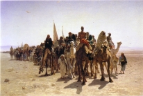 Painting of Leon Belly. Pilgrims going to Mecca. 1861. Oil on canvas