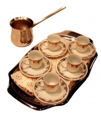 Photo of coffee cups and saucers for five on a tray