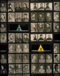 Photo mural displaying mug shots of prisoners interned in Auschwitz